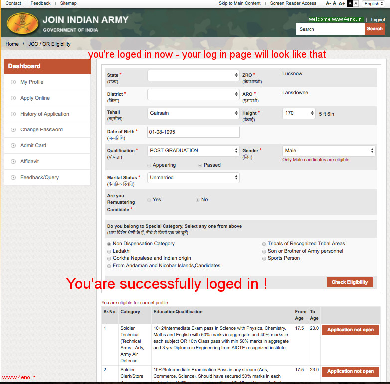 indian army loged in