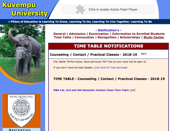 kuvempu university exam time table